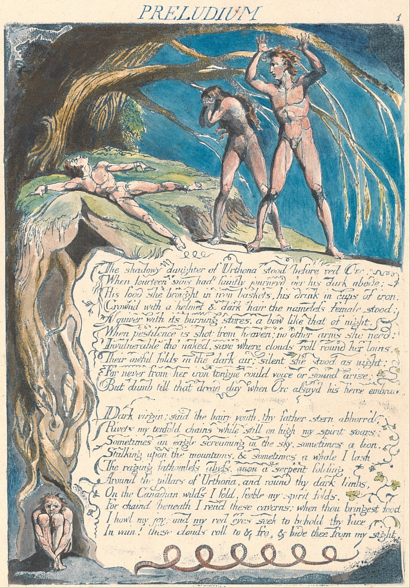 अमेरिका। एक भविष्यवाणी, प्लेट 3, प्रस्तावना द्वारा William Blake